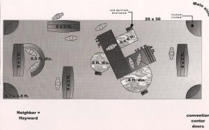 A design schematic for tradeshow booths
