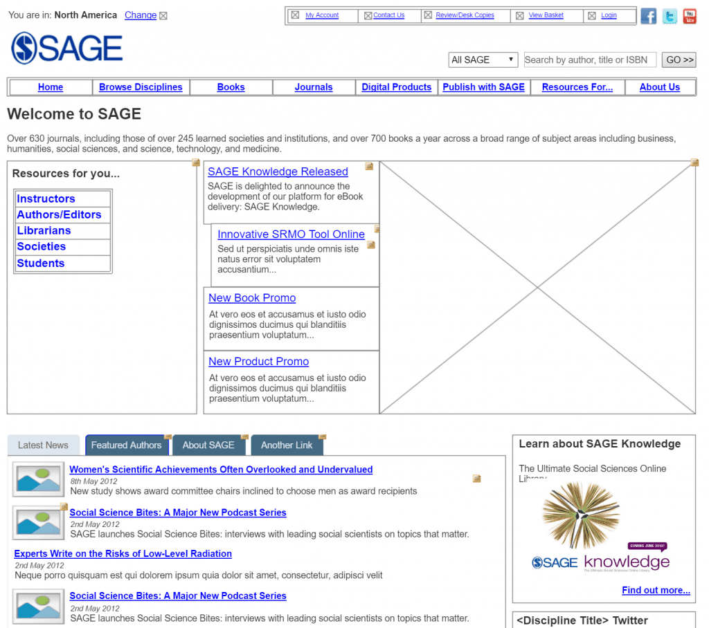 an axure wireframe prototype of the sage web design enhancement